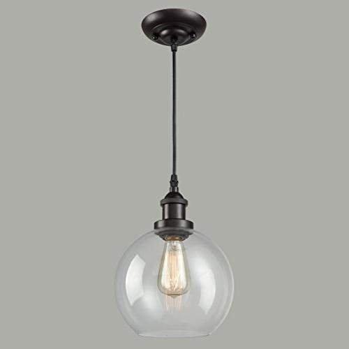 CLAXY Lighting Vintage Clear Pendant Oil Rubbed Bronze Hanging Light