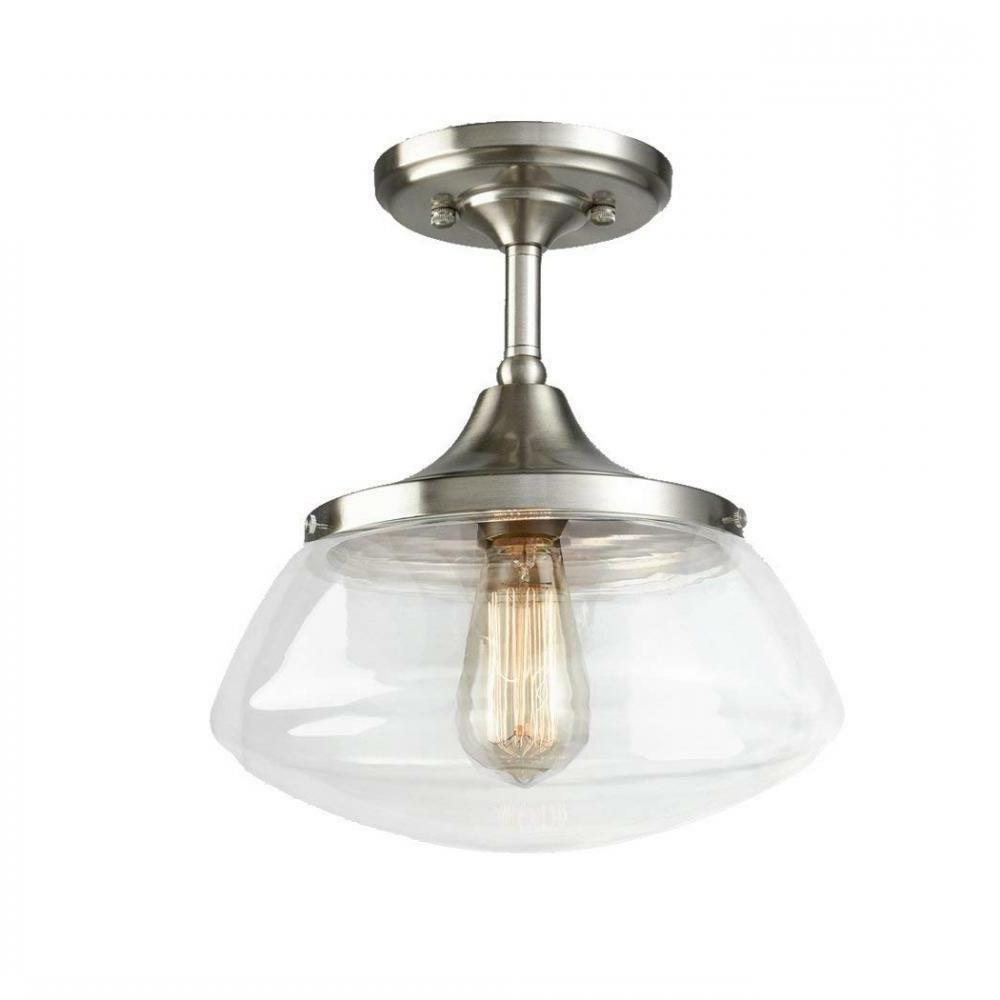 CLAXY Ecopower Vintage Brushed Nickel Glass Ceiling Light 1-