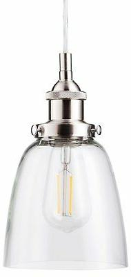 Fiorentino LED Brushed Nickel Pendant Light – w/Clear Glas