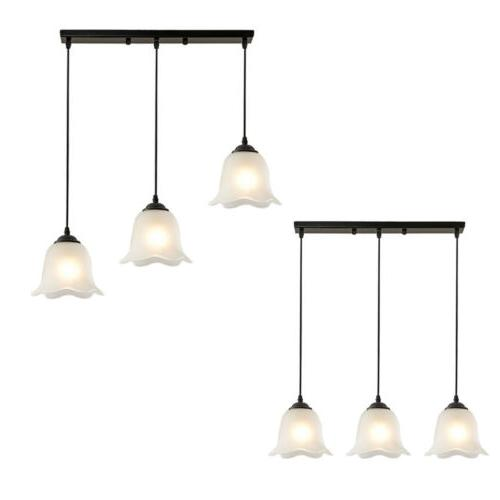 3-Light Flower-shaped Suspended Glass Chandelier Ceiling Fixture