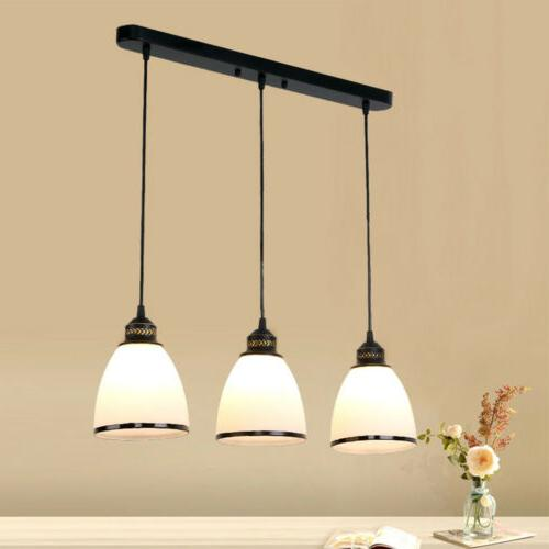 3 Pendant Glass Shade Bowl Lamp Ceiling Lighting