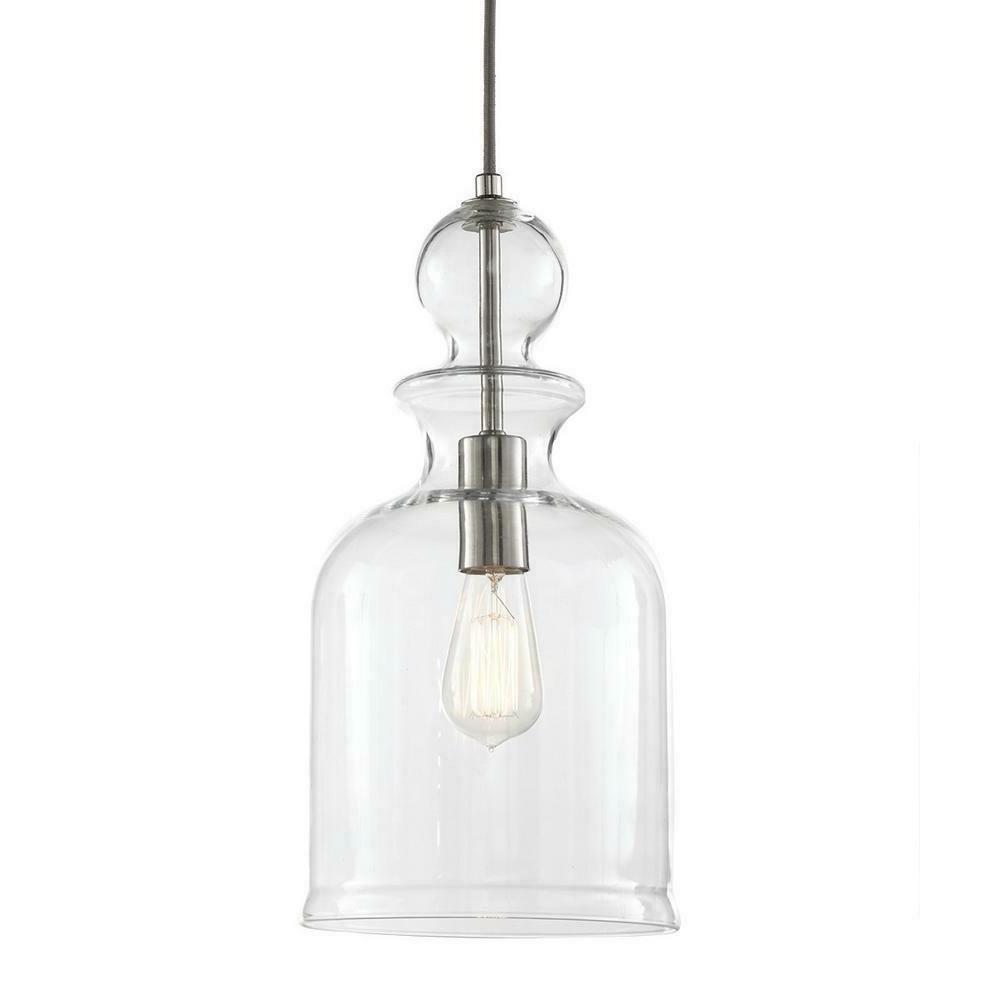 Home Decorators 8.38 1-Light Nickel w Clear Glass D2