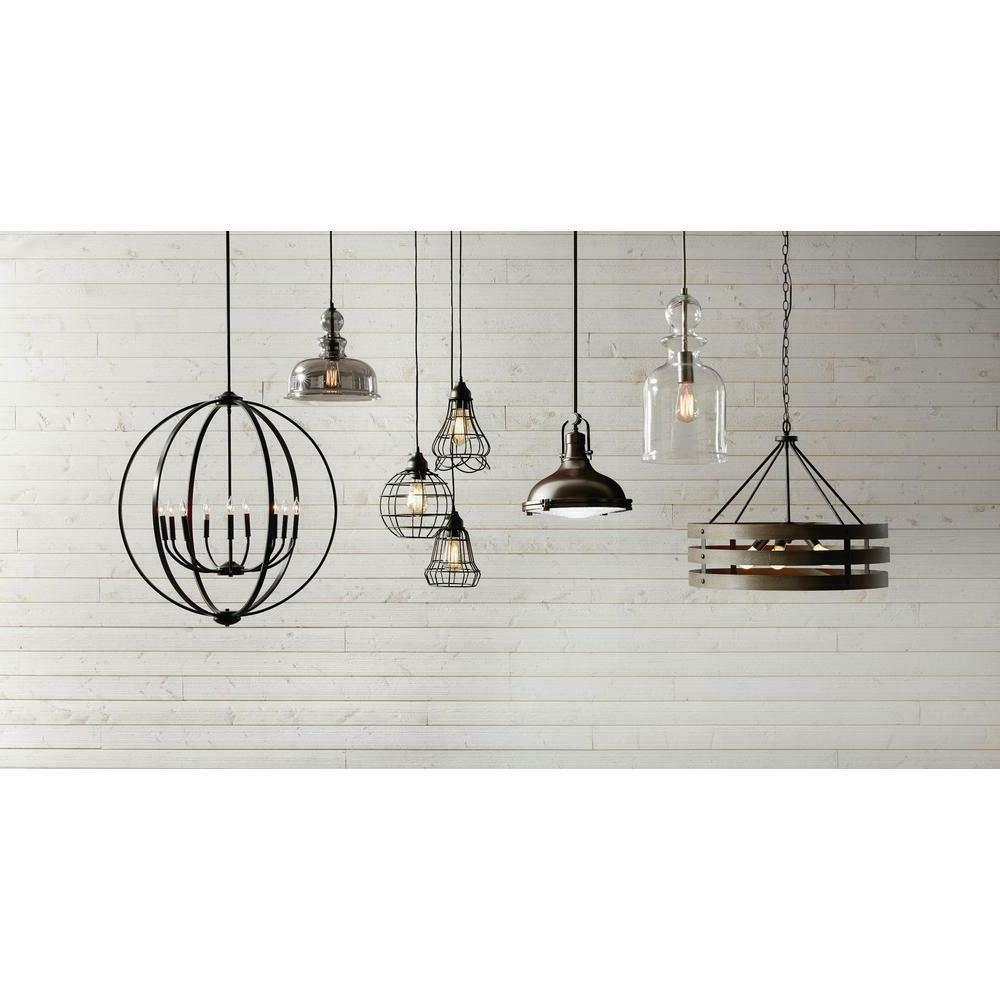 Home 1-Light Brushed Nickel Pendant w Glass D2