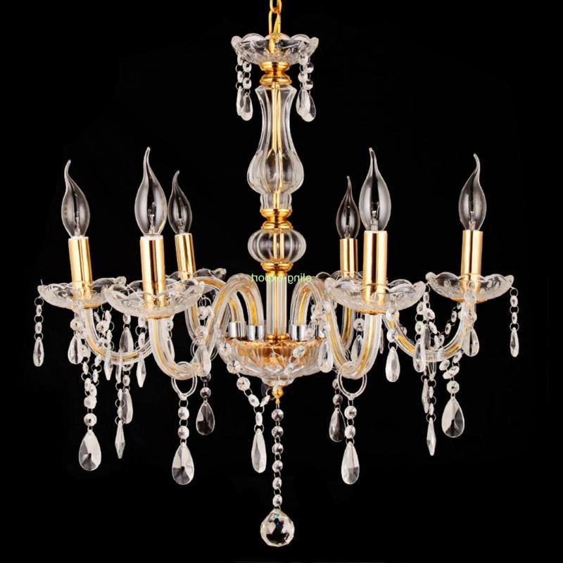 Home Modern 6 Light Crystal Ceiling Pendant Fixture