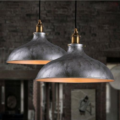 Industrail Pendant Light Silver Dome Shade Ceiling Fixture