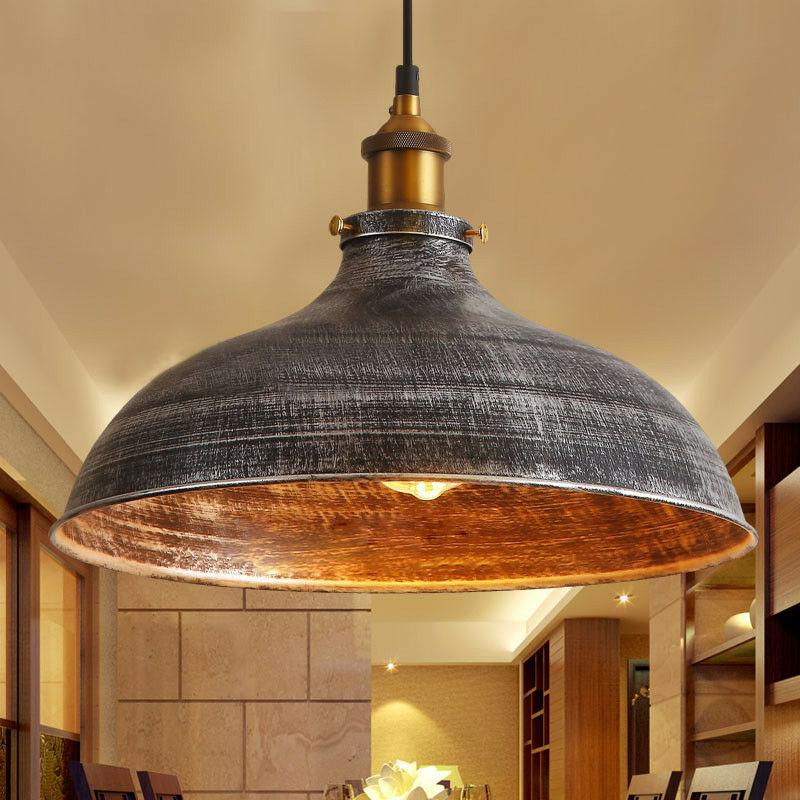 Industrail Warehouse Pendant Light Silver Dome Shade Hanging