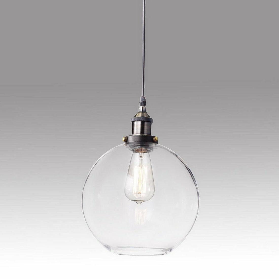 Industrial Glass Globe Shade Modern Opening