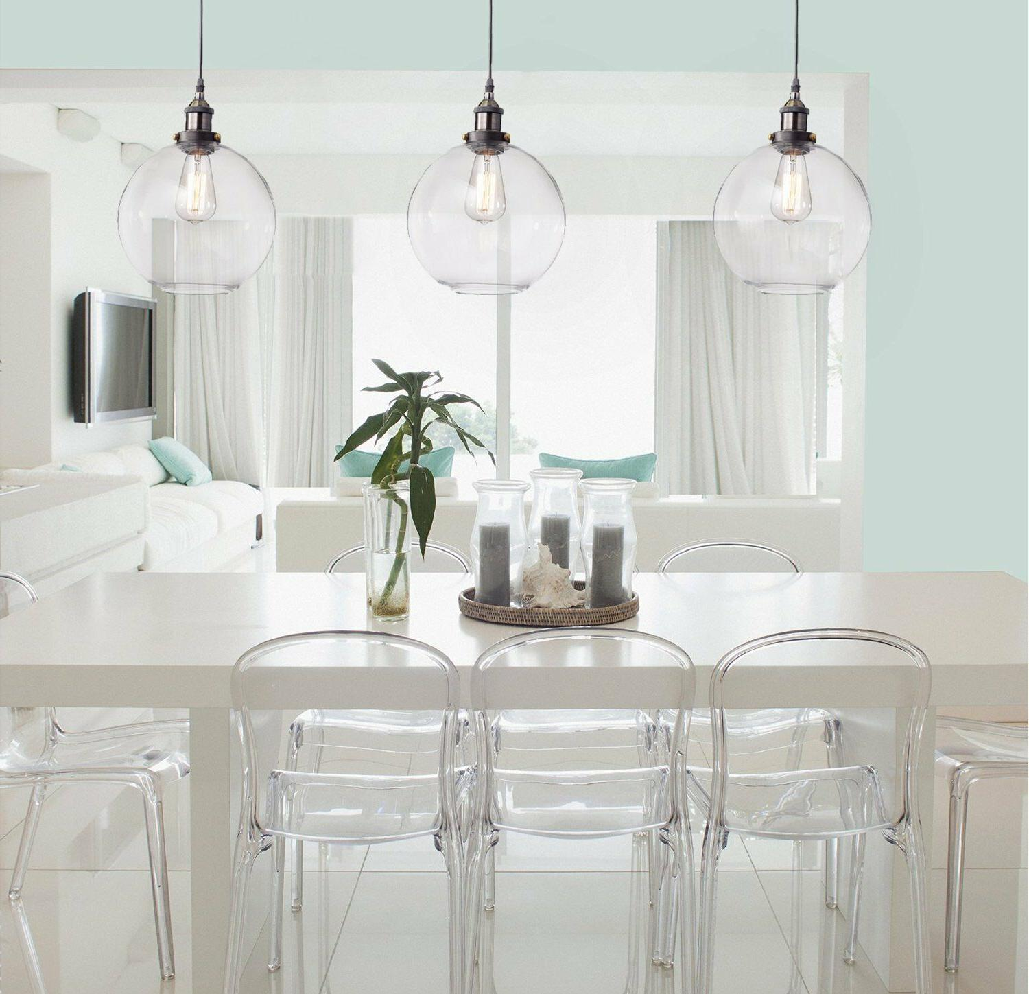 Industrial Glass Shade Pendant Modern Opening