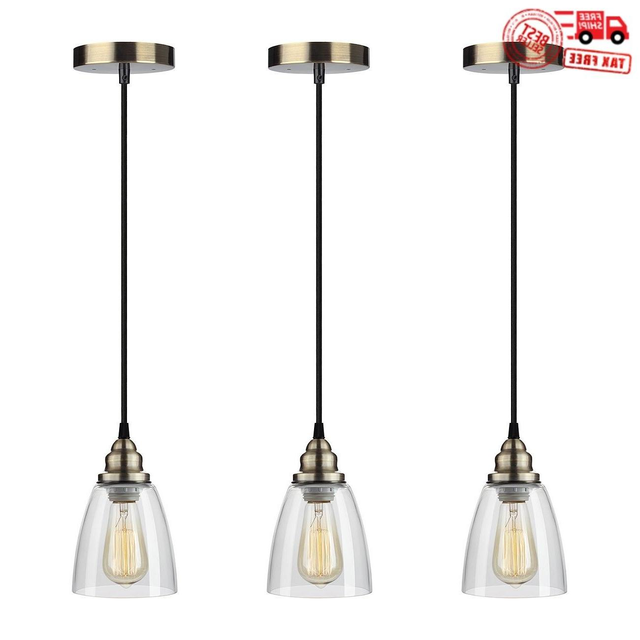 Industrial Edison Mini Glass 3-Light Pendant Hanging Lamp Fi