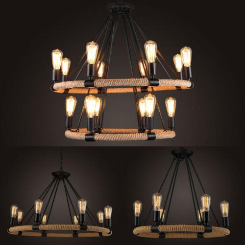 Industrial Farmhouse Iron Rope Chandelier Pendant Ceiling Li