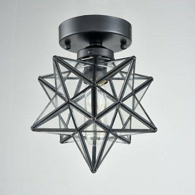 AXILAND Industrial Star Ceiling Light with Glass Light