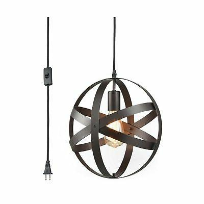 YOBO Lighting Industrial Plug-in Cord Pendant with On/Off Sw