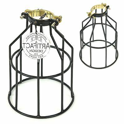 Set of 2 Industrial Vintage Style Top Black Light Cage for P