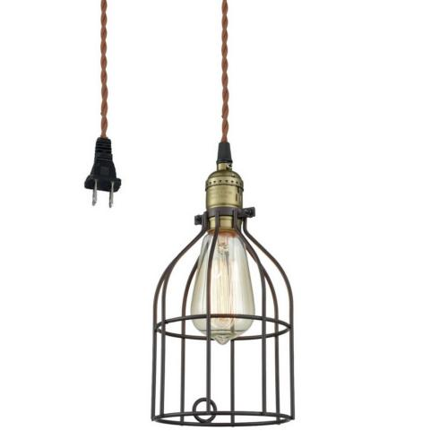AXILAND Industrial Vintage Style Mini Plug In Pendant Light,
