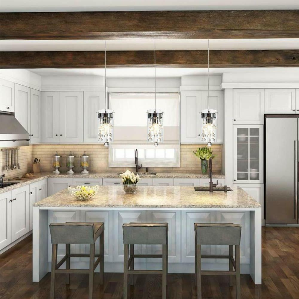 Kitchen 3 Pendant Fixture Modern Crystal Hanging Ceiling