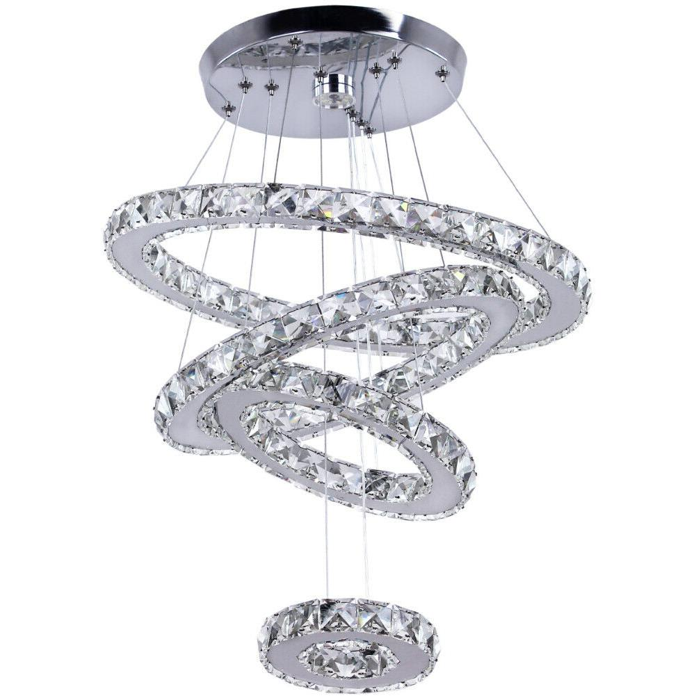 LED Chandelier Crystal Light Fixture Rings Ceiling Light for Dining