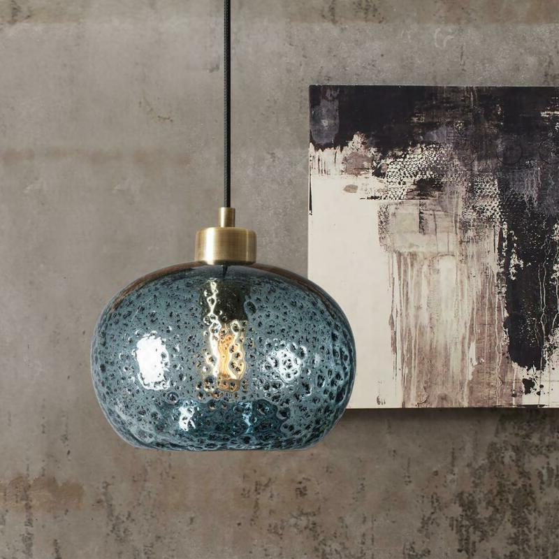 Casamotion Light Brass Rustic Seeded Pendant w/ Blue Glass Shade 9 i