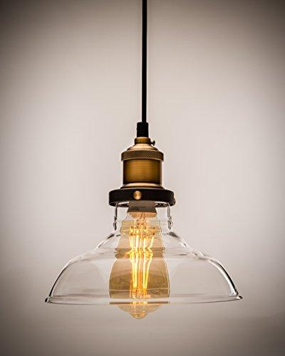 LUCIA Pendant Light Vintage Bronze Design with Clear Glass Shade; Free Lighting Fixture