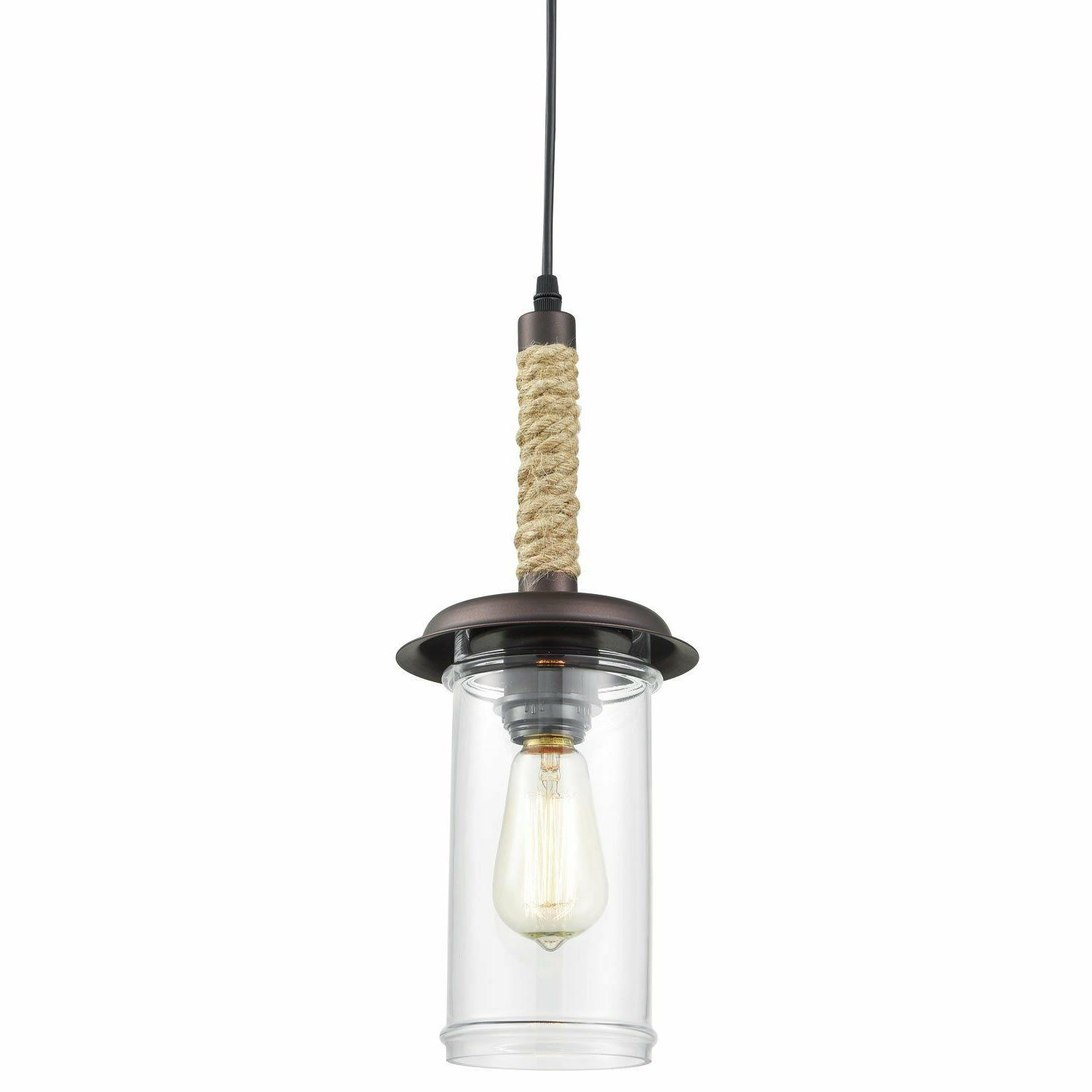 YOBO Lighting Vintage Glass Pendant Light with Hemp Rope YB-