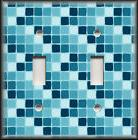 Metal Light Switch Plate Cover Ombre Aqua Blue Mini Tile Des