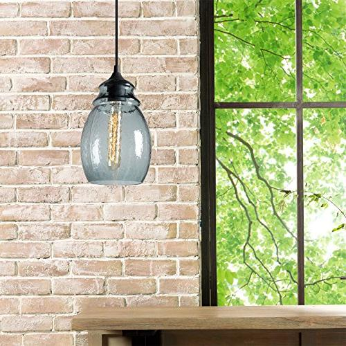 CASAMOTION Glass Drop Hanging Light, Glass Bell Pendant, Grey Glass Shade,