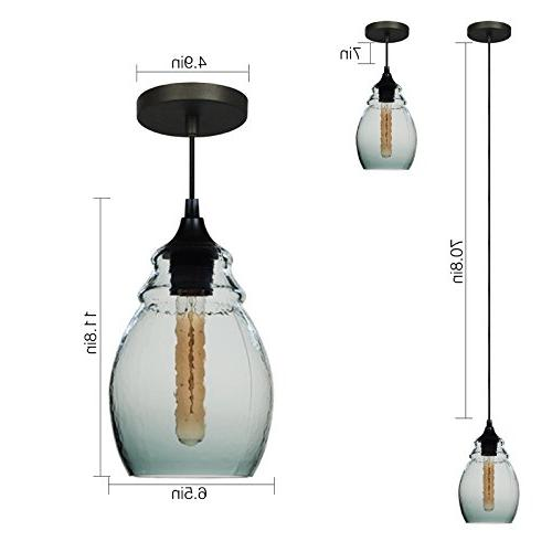 CASAMOTION Pendant Light Handblown Glass Hanging Glass Grey Blue Glass Shade, Matte 12''