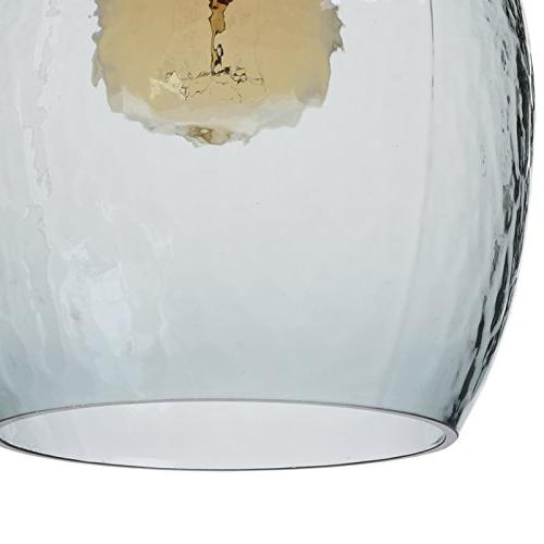 CASAMOTION Glass Drop Glass Bell Grey Blue Glass Shade, Matte