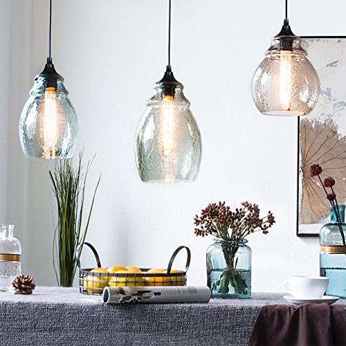 CASAMOTION Pendant Light Glass Grey Blue Glass Shade, Matte