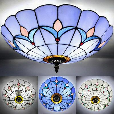 Mission Flush Mount Light Tiffany Stained Glass Ceiling Chan
