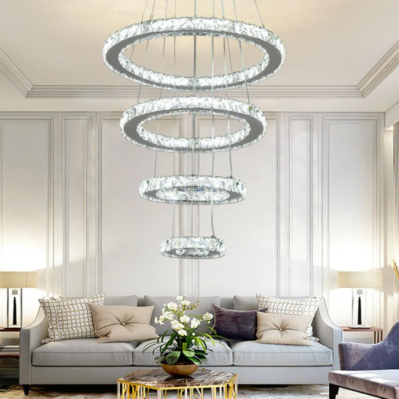 Modern Adjustable LED Chandeliers Crystal Pendant Lamp Round