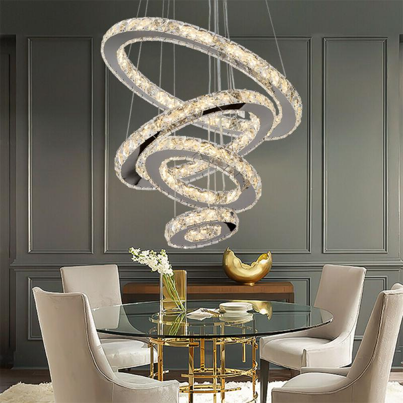 Modern LED Adjustable Chandeliers Crystal Pendant Lamp Round