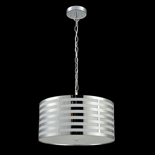 AXILAND Hanging Chain Drum Shade Pendant 3-Light