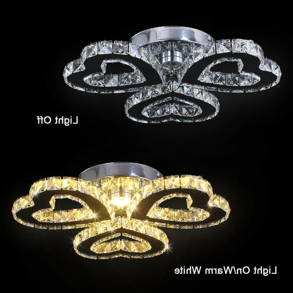 Modern Crystal Chandeliers Heart-shaped Led Ceiling Lights Pendant Light