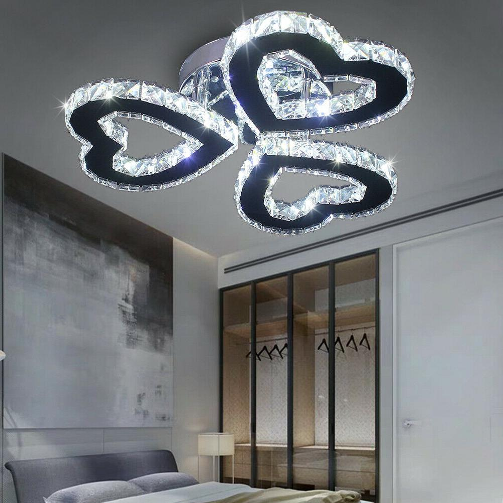 modern crystal chandeliers lamp heart shaped led