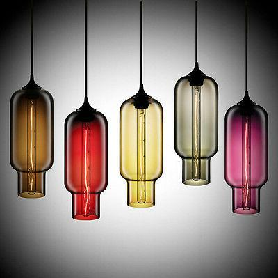 Modern Style Color Glass Ceiling Lamp E27 Hanging Light Crys