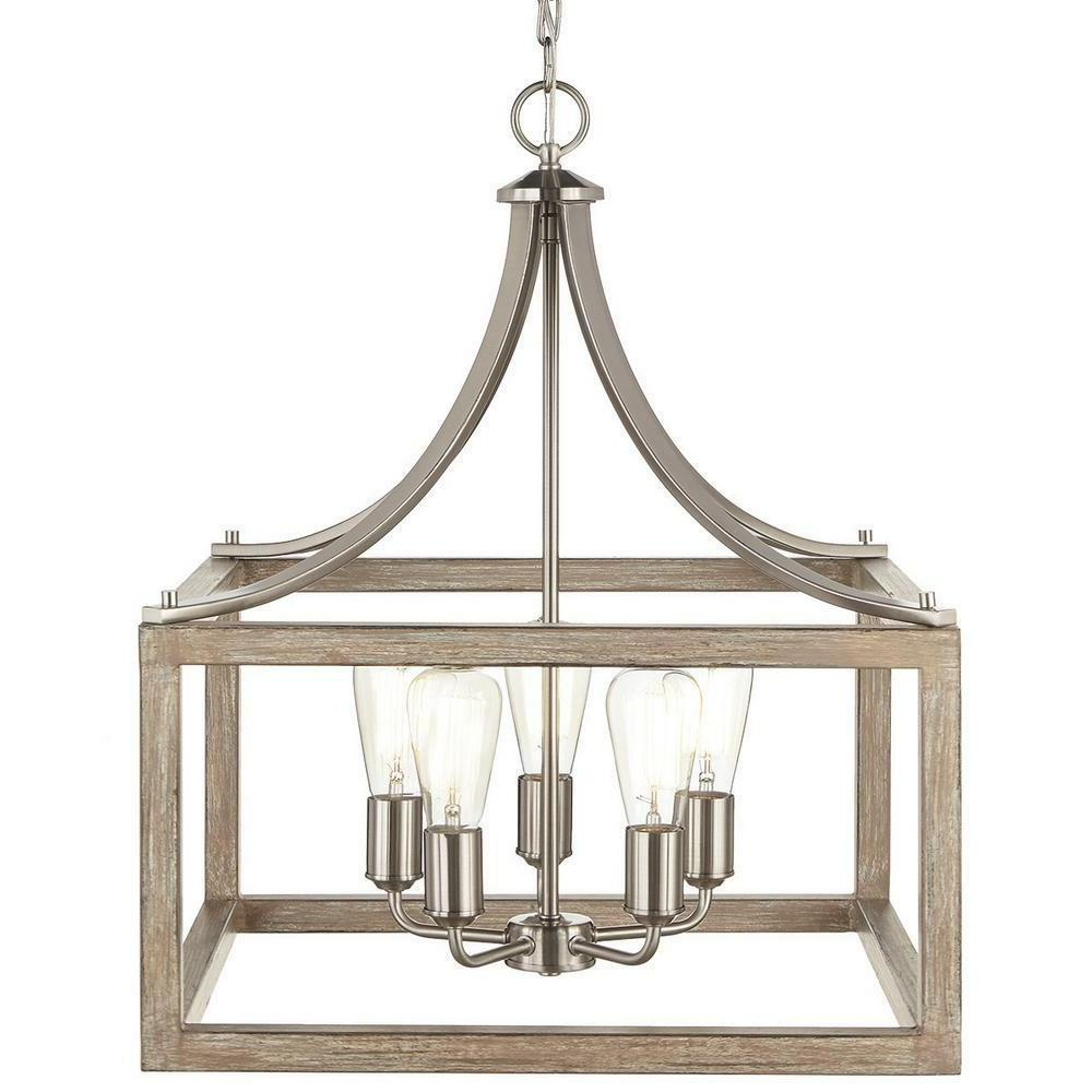 new 5 light pendant in brushed nickel