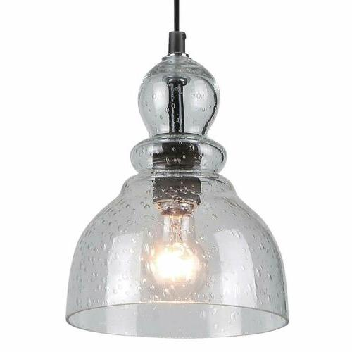 One-Light Indoor Mini Pendant Oil Rubbed Bronze with Clear Seeded Glass