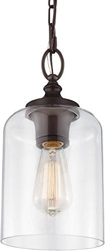 Feiss P1310ORB Hounslow Glass Pendant Lighting, Bronze, 1-Li