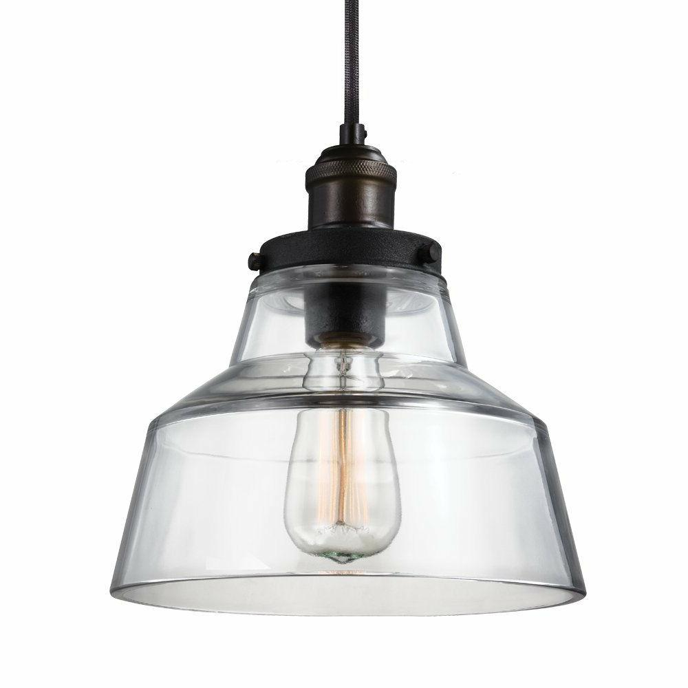 Feiss P1348PAGB/DWZ Baskin 1 - Light Pendant in Painted Aged