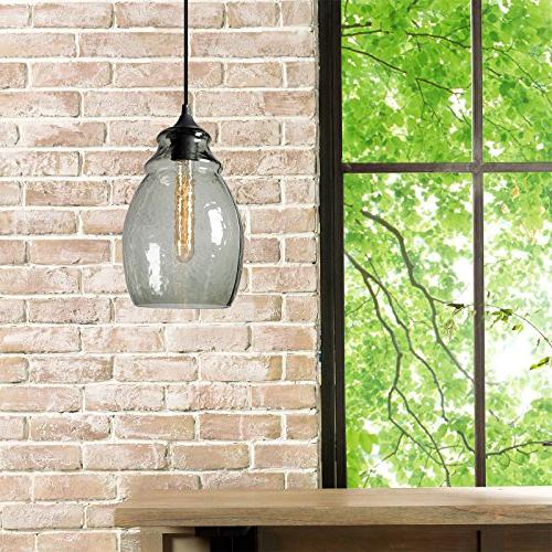 Casamotion Handblown Glass Drop Hanging Light, Glass Pendant, Black Finish, Green Glass 13.4''H