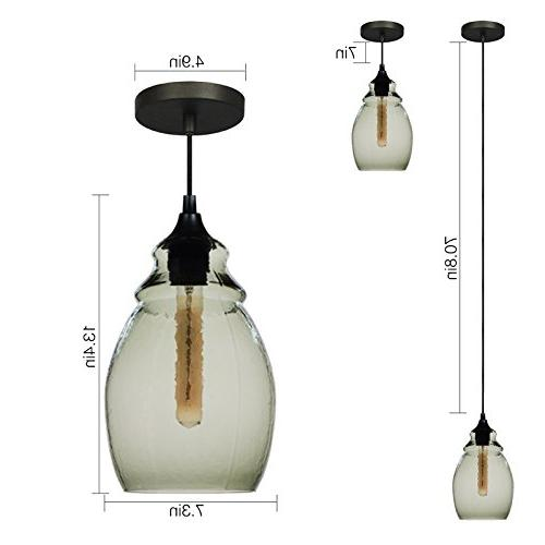 Casamotion Glass Pendant, Black Finish, Glass Shade,