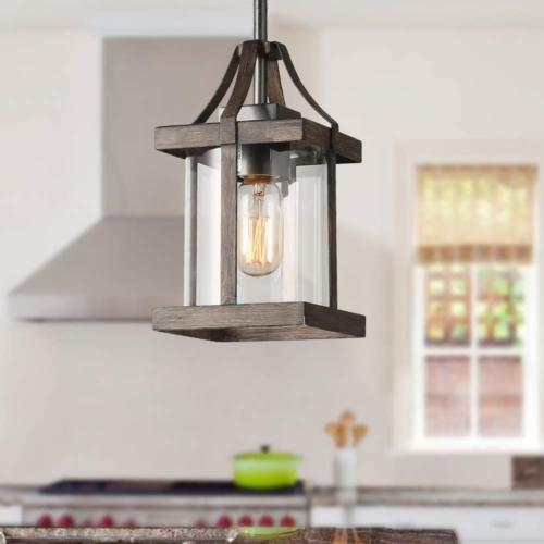 pendant lighting rust and faux wood finish