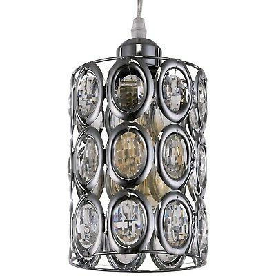 Plug In Pendant Light Fixture Crystal Chrome