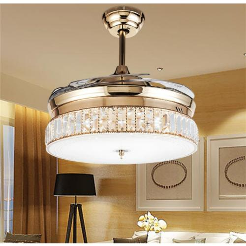 rose gold invisible ceiling fans light crystal