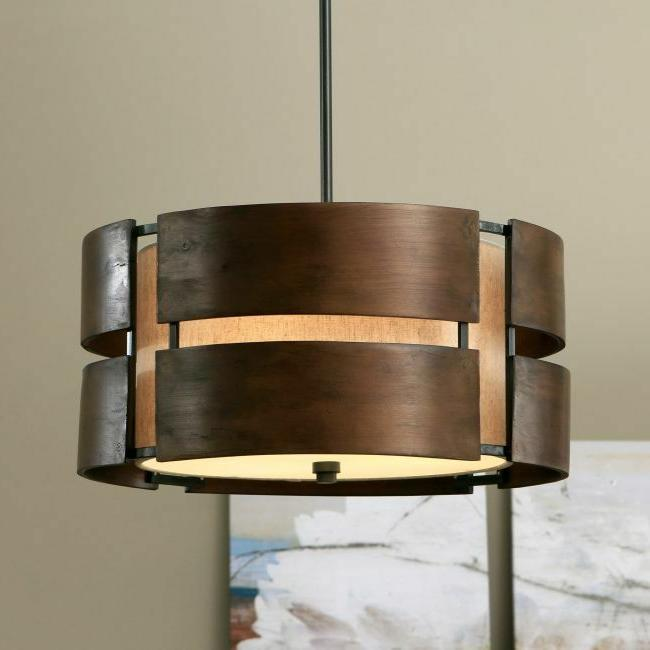 round chandelier wood light fixture drum pendant