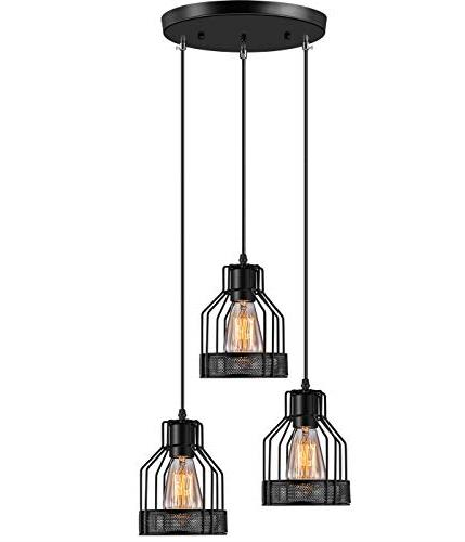 rustic 3 light hanging pendant lamp matel