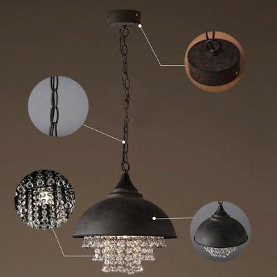 Rustic Industrial Crystal Pendant Light Loft Ceiling