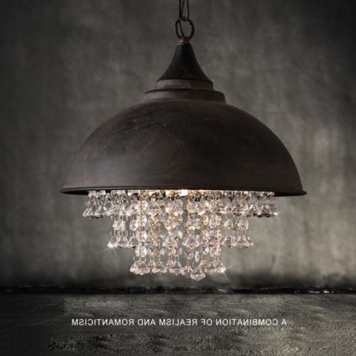 rustic industrial crystal pendant light