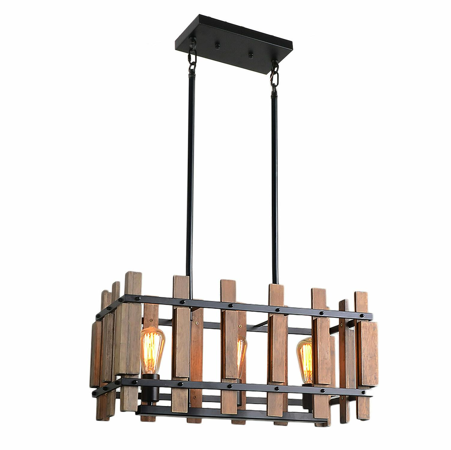 Rustic Wood Kitchen Light Rectangle Pendant