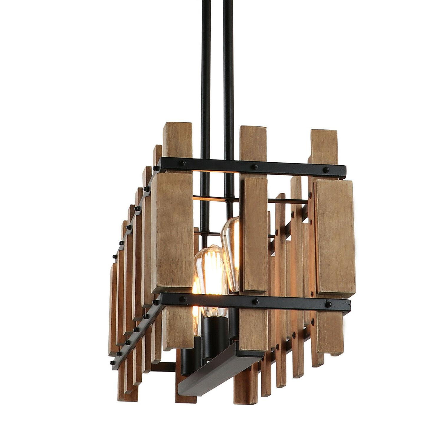 Rustic Wood Kitchen Light Fixtures Pendant